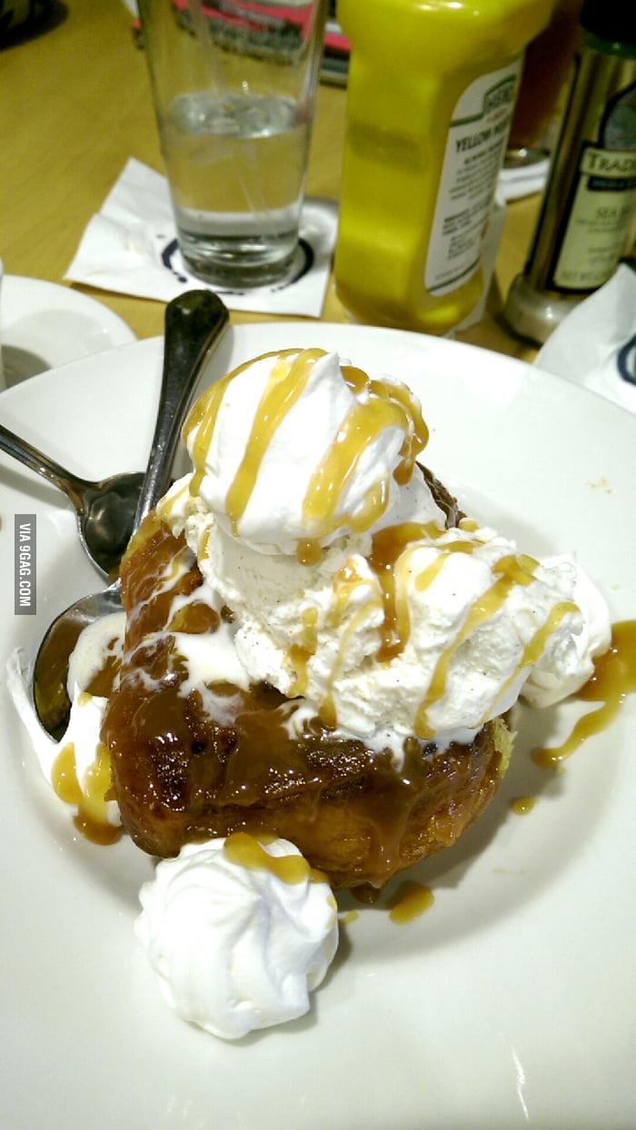 Cinnamon Roll Sundae, topped with vanilla ice cream ...