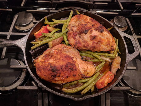 Roasted Amish Split Chicken Breasts with Veggies