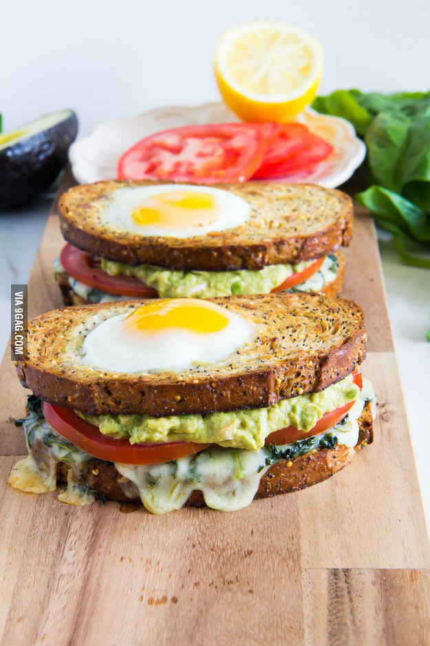 Egg-in-the-hole and avocado sandwich - 9GAG