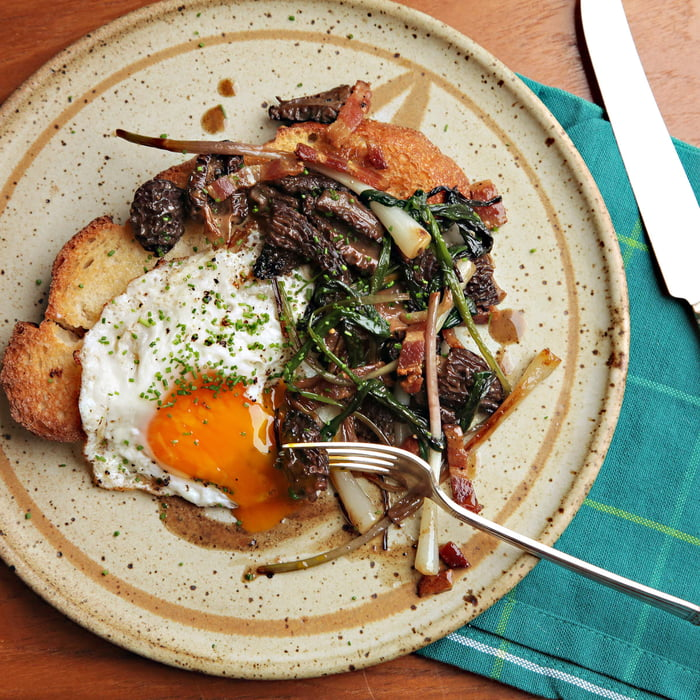 Ramps and morels sautéed in butter with a fried egg and sourdough ...