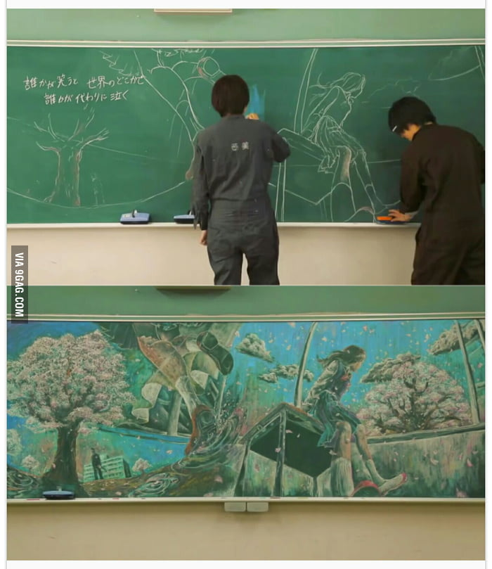 What japanese students do during class with chalkboard 9gag for Architecture students 9gag