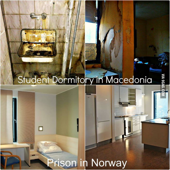 Student dormitory in Macedonia vs. Norway Prisons