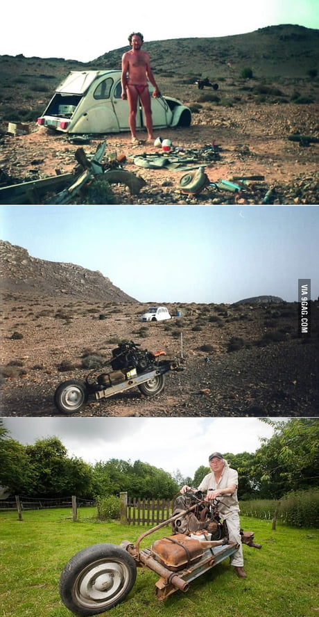 French electrician Emile Leray built a motorbike from a broken down car to escape the desert