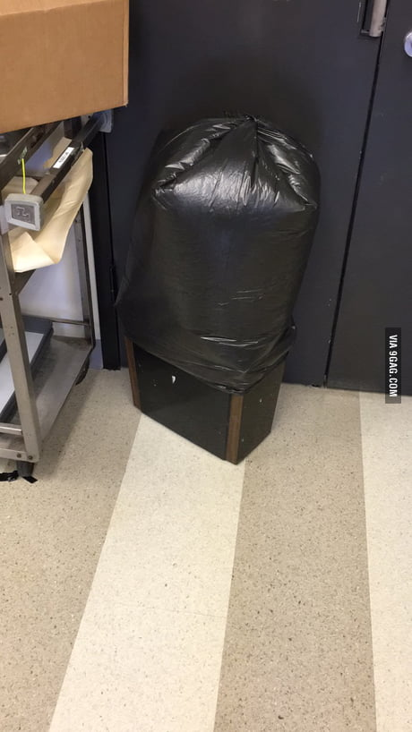 The air pressure in the lab changed drastically so this trash bag inverted