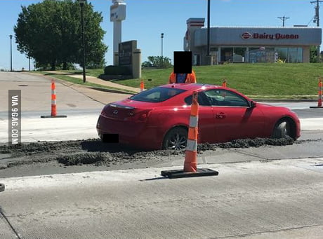 A car drove into some fresh concrete in my town today.