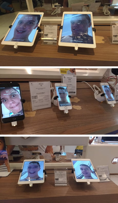 This Kid Replaced The Wallpaper On EVERY Cellphone In This Store With His Selfies