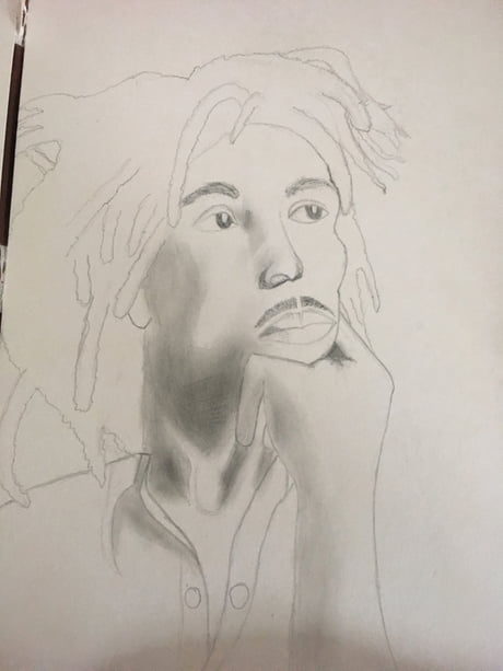 A drawing that I'm working on! Any Bob Marley fans?
