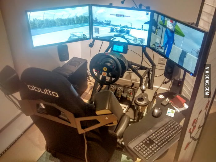 this guy 39 s sim racing rig is worth more than his actual. Black Bedroom Furniture Sets. Home Design Ideas
