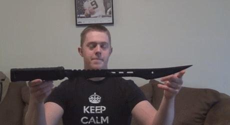 Sword with build-in stun gun. Like stabbing someone just isn't enough.