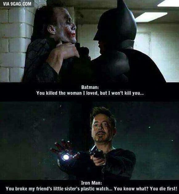 batman vs iron man 9gag
