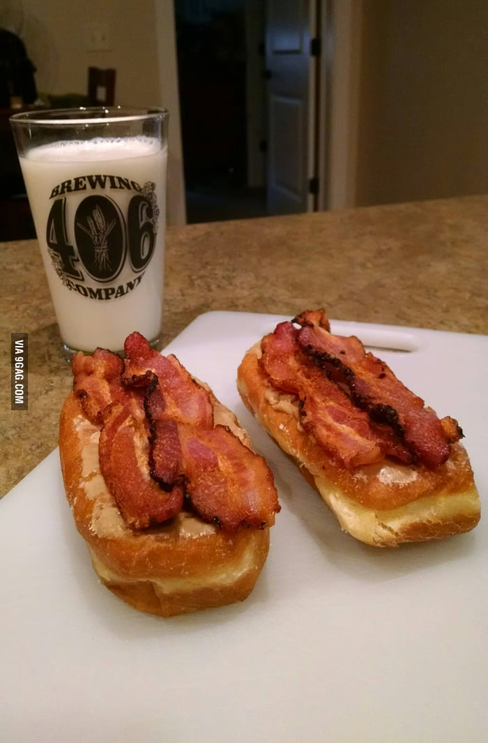 Maple Bacon Long Johns for breakfast. - 9GAG