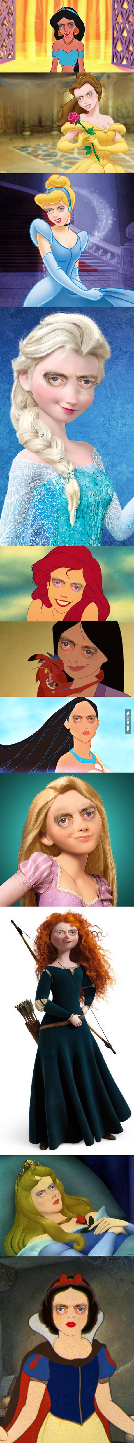 Disney Princesses with Steve Buscemi's Eyes