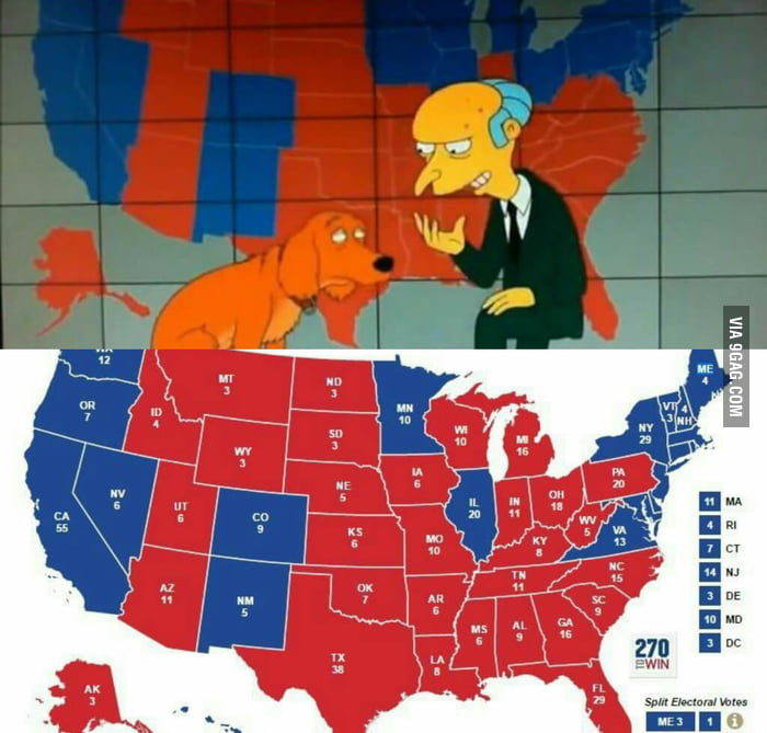 Are The Writers From The Simpsons Actually Psychic They - Simpons Us Map Vs Real Voters Map