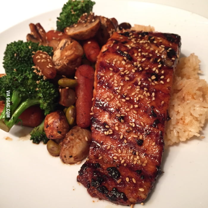 Homemade grilled miso-teriyaki-sesame glazed salmon over seasoned rice ...