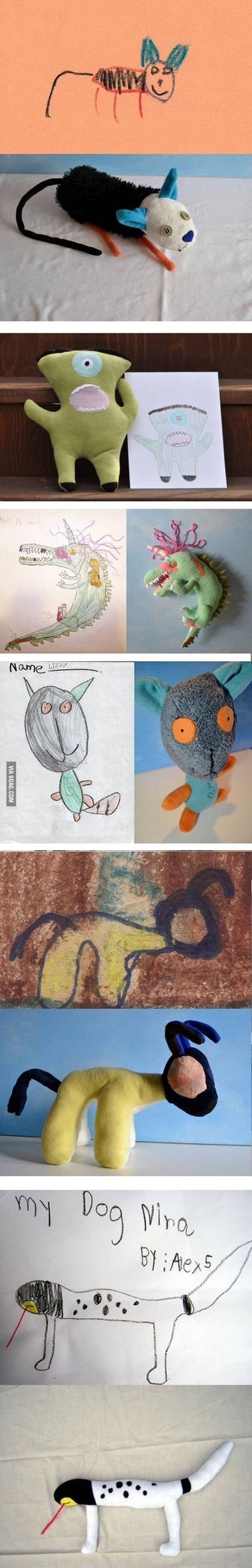 Awesome toy company making children's drawings into weird plush toys.
