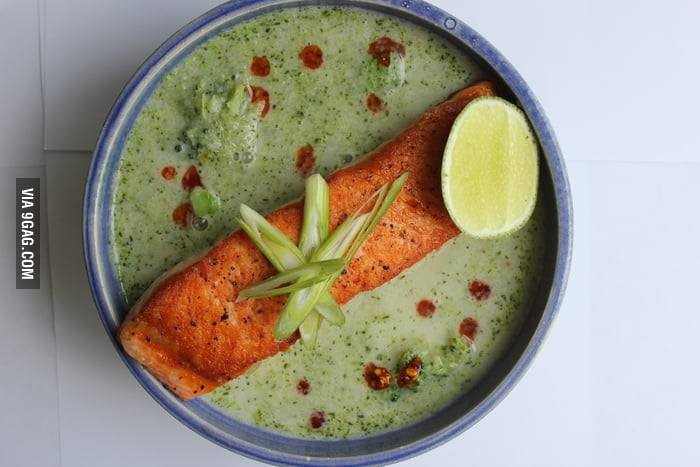 Thai Coconut-Broccoli Soup with Seared Salmon9GAG