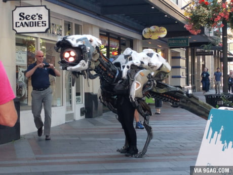 So this is in front of my office scaring the shit out of children. It's pretty cool! (Horizon Zero Dawn)