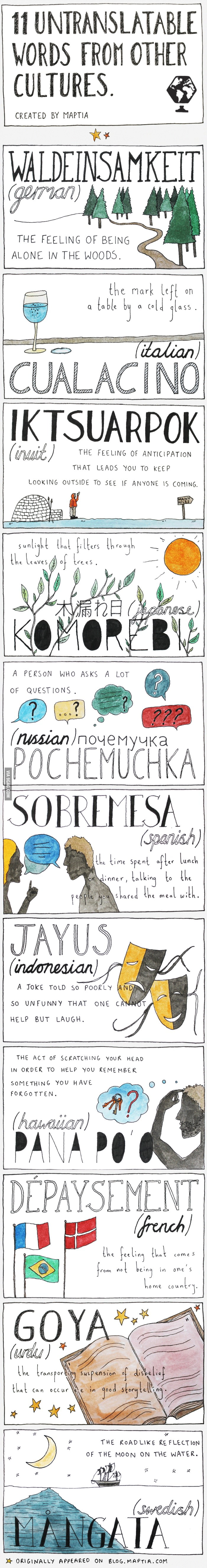 Untranslatable Words, shows a lot about different cultures