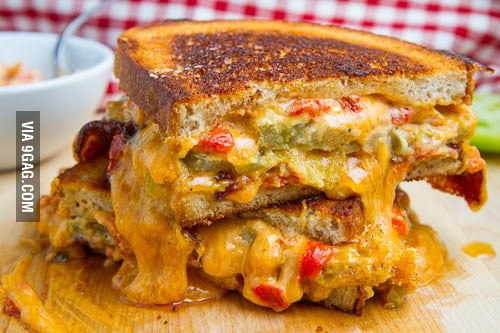 Bacon, Fried Green Tomato and Pimento Grilled Cheese - 9GAG