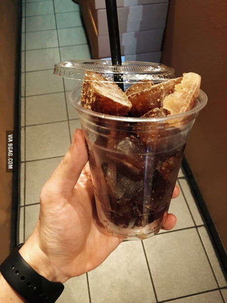 Our local coffee shop uses frozen coffee cubes for iced coffee.