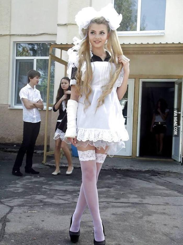 russian school girl on graduation day   9gag