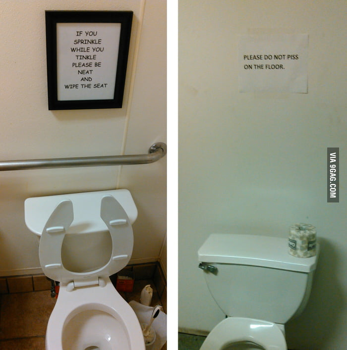 Different bathrooms different suggestions of etiquette for Bathroom 9gag