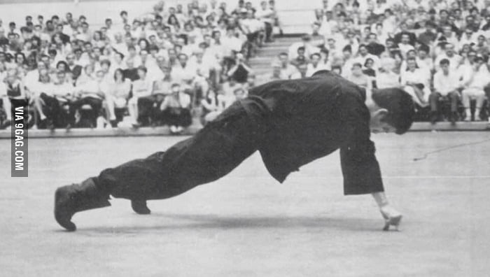 Bruce Lee one hand push-up, using only an index finger and a thumb