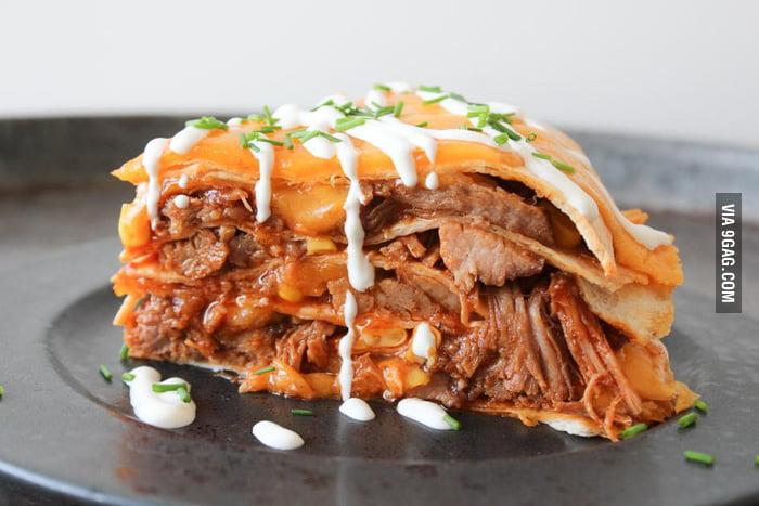 """Homemade BBQ Pulled Pork Tortilla """"Lasagna"""" - 9GAG"""