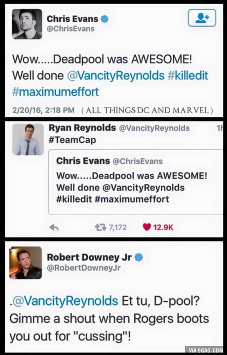Chris Evans, TeamCap, Ryan Reynolds, Robert Downey Jr, TeamIronMan, Deadpool