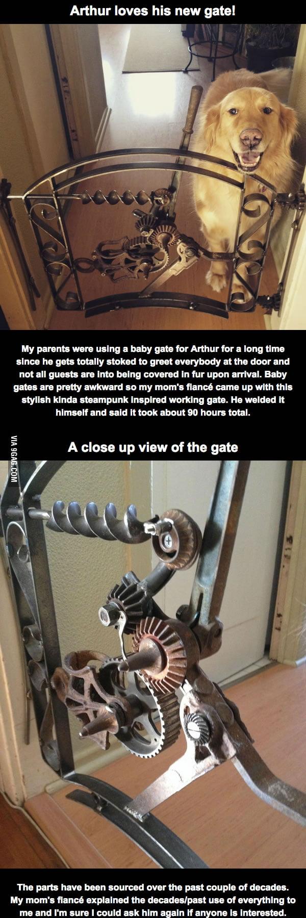 Designed and built this custom welded gate for their golden retriever.