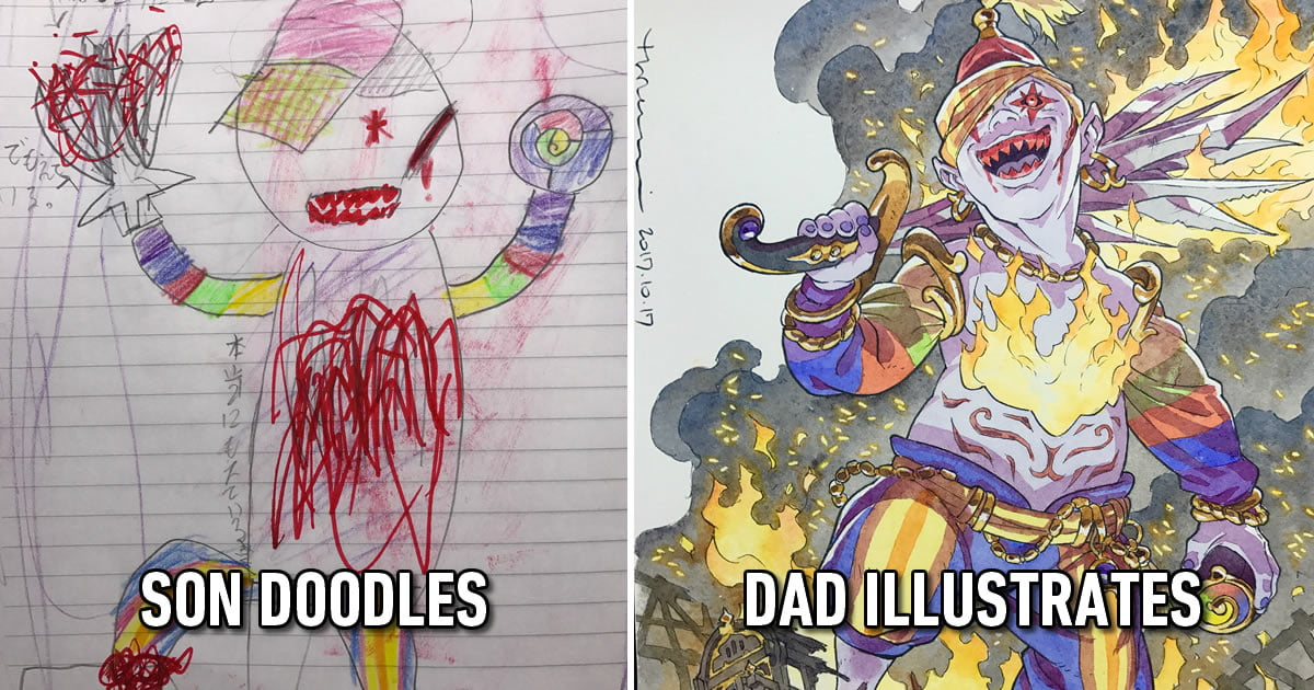 Creative Dad Continues Turning His Sons' Doodles Into Awesome Anime Characters