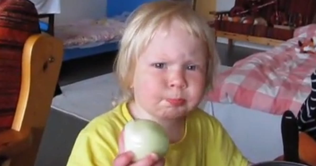 -Mom, can I have this apple? -That's not an an apple! That's an onion! -No it's not! -Alright, If you insist.. (When you rather die than admitting an error)