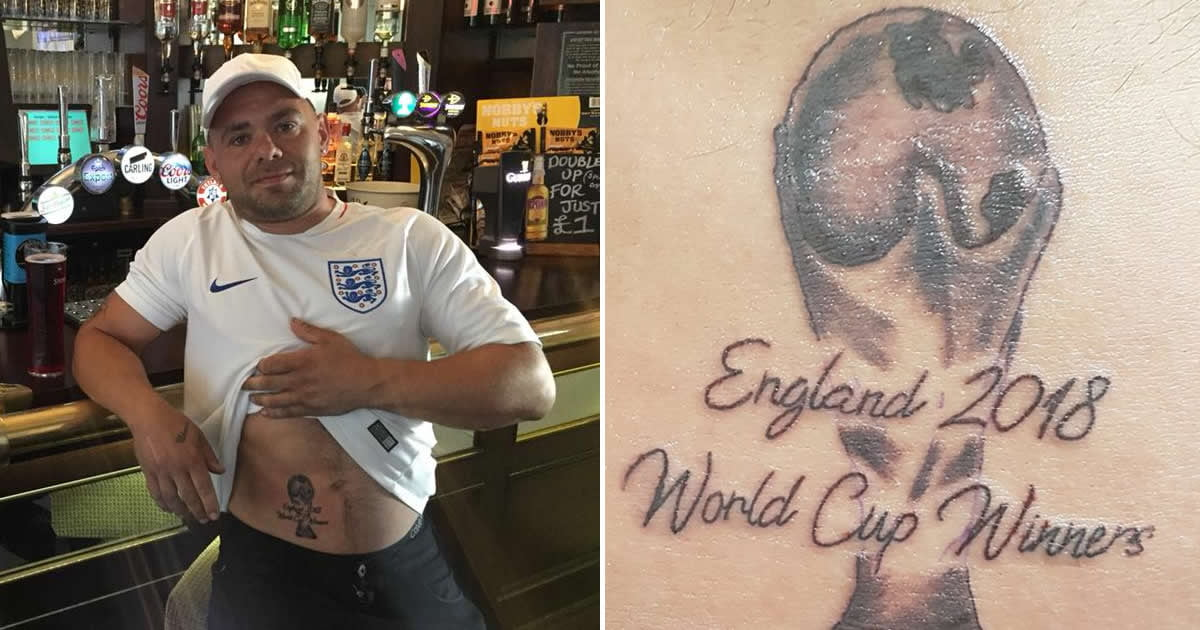 England Fans Were So Certain Of World Cup Win That They Have It Tattooed