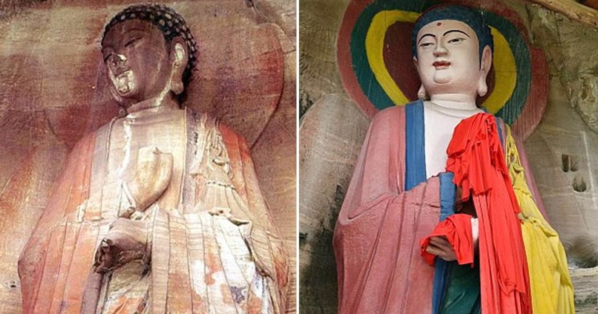Historic Buddha Statue Turned Into Cartoon By Amateur Artists In Sichuan