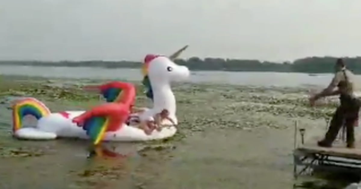 Police Rescue 4 Women Stranded On Unicorn Float For Hours