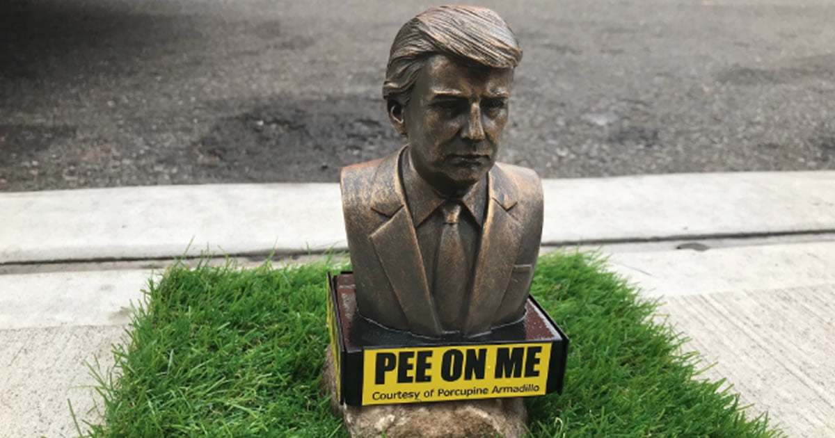 Tiny Statues Of Trump With Signs Inviting Dogs To Pee On Me Appear Across Brooklyn