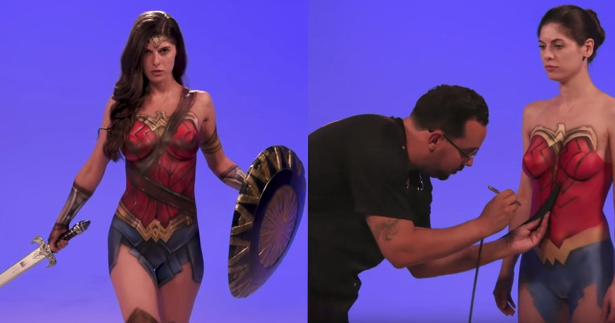 Body Paint Artist Turns A Naked Woman To Wonder Woman