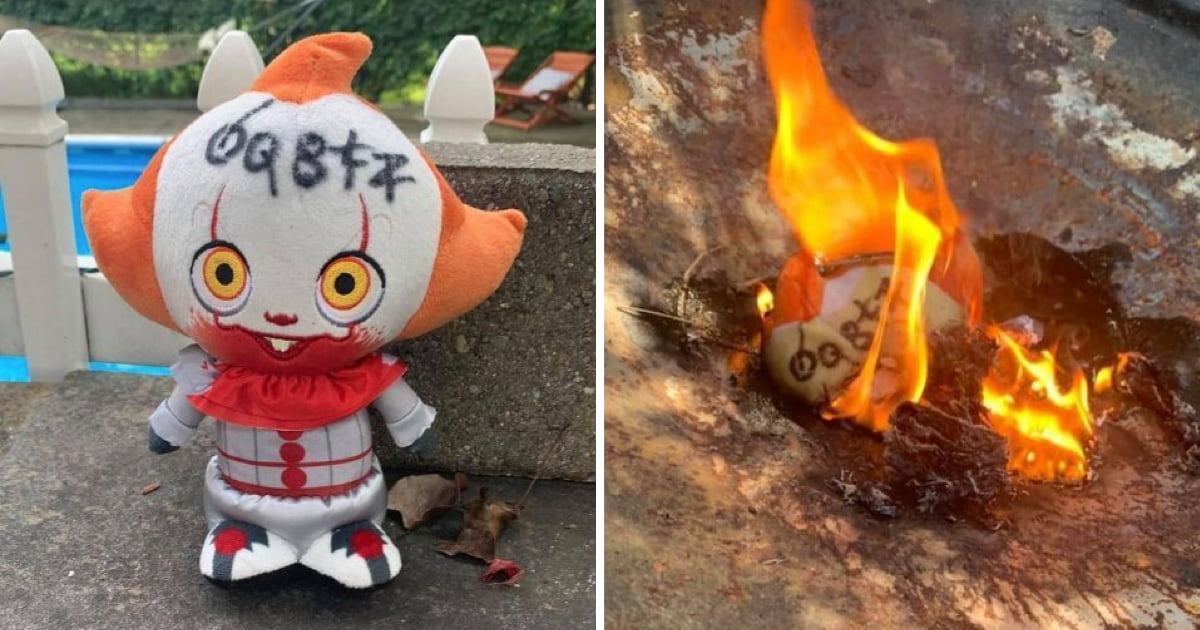 Woman Burns Pennywise Doll After It Mysteriously Floated Down Into Her Backyard