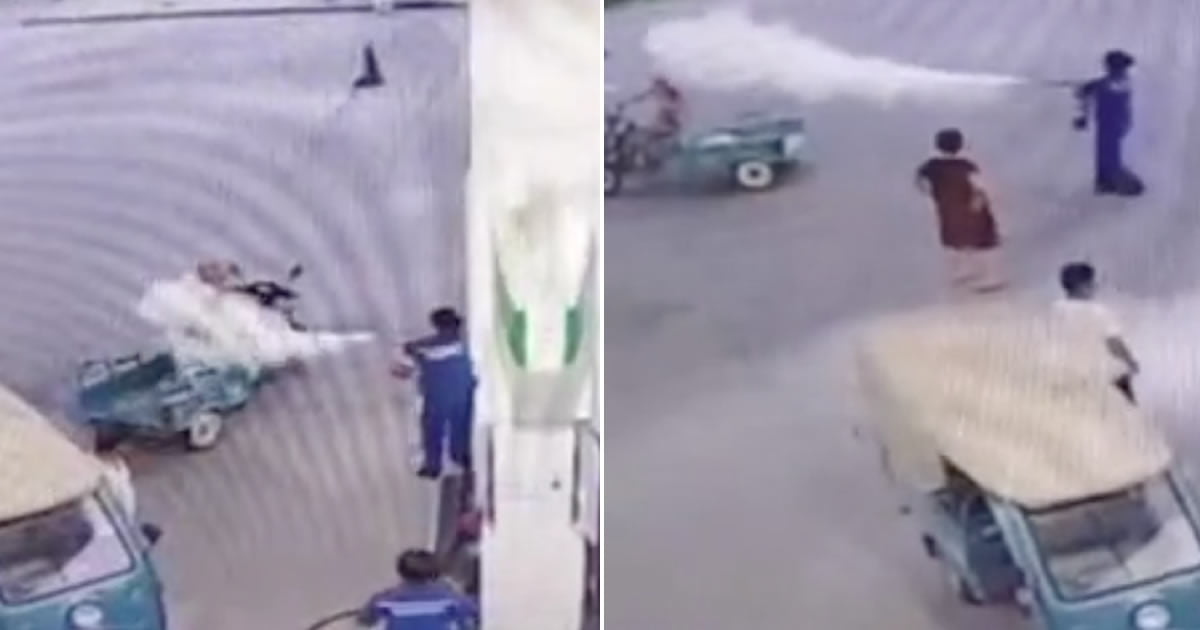 Man Soaked With Fire Extinguisher After Refusing To Stop Smoking At Petrol Station
