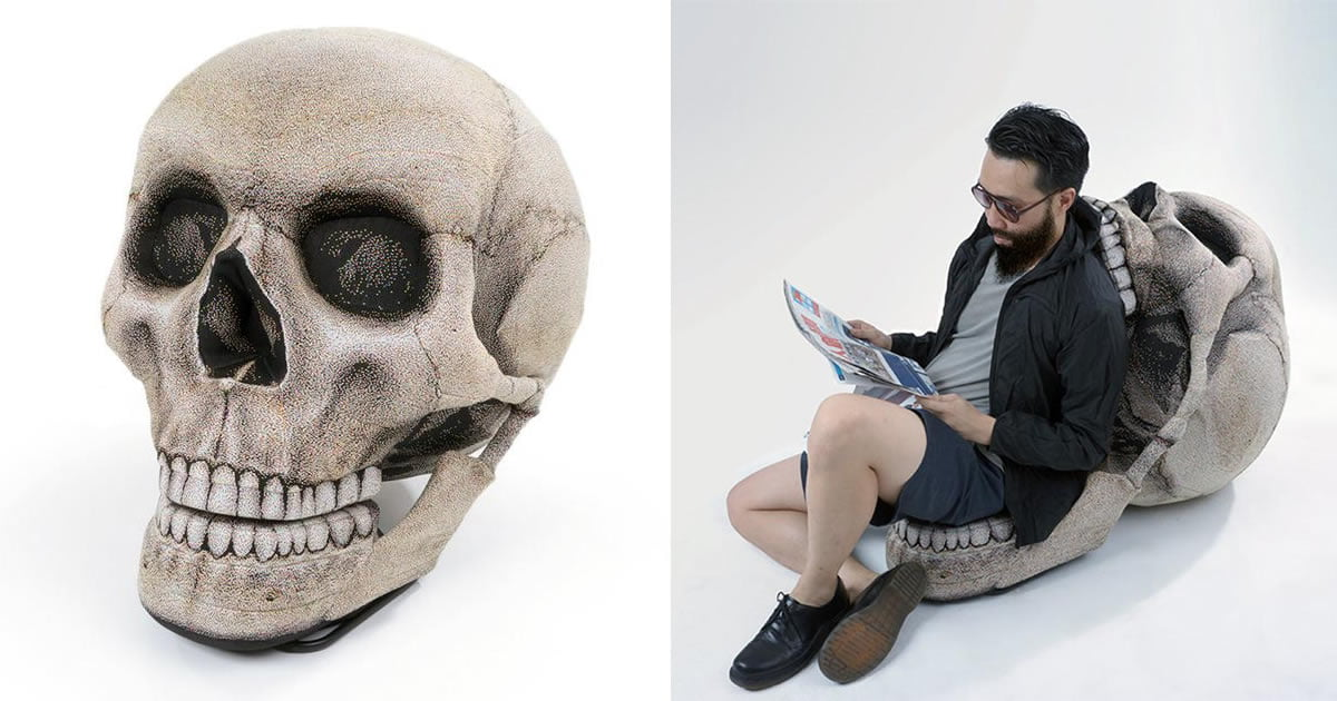 This Giant Skull Chair With Movable Jaw Is A Must Have For Halloween