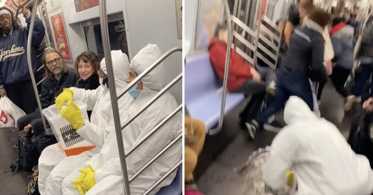 Pranksters In Hazmat Suits Scared Subway Riders By Pretending to Spill Coronavirus