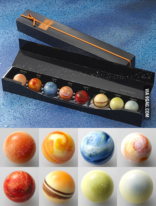 Just planet shaped chocolat.