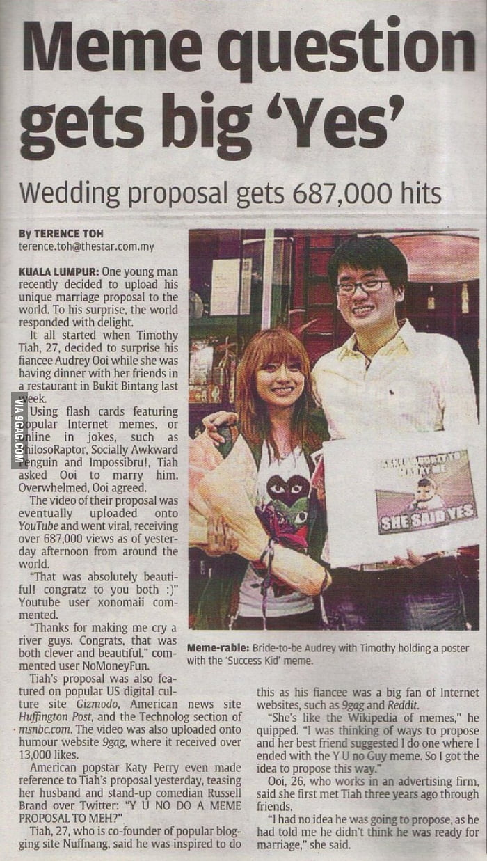 Malaysian newspaper on Meme Proposal