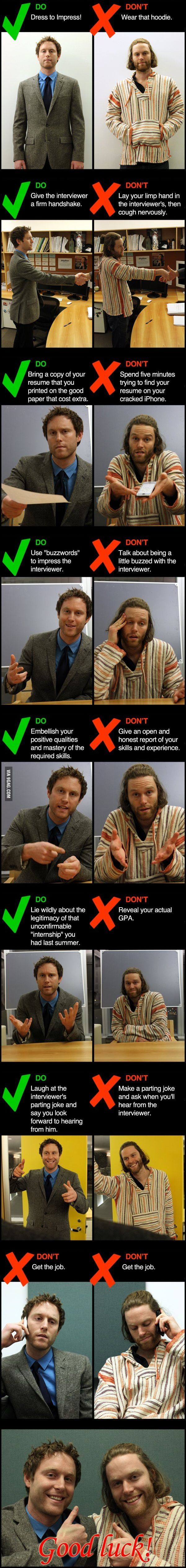 job interview dos and don ts 9gag job interview dos and don ts