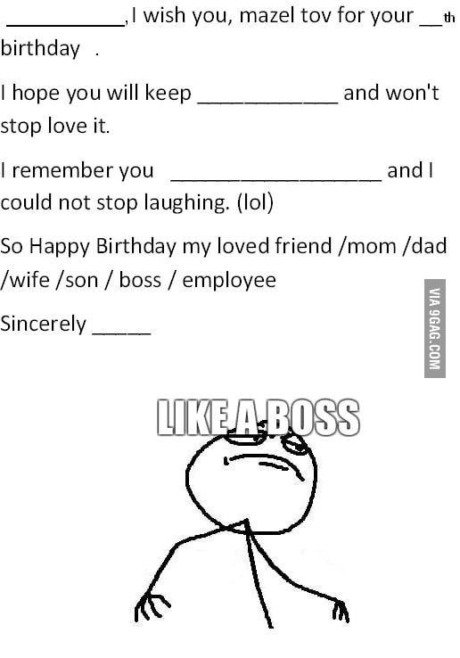 Birthday Card Like A Boss