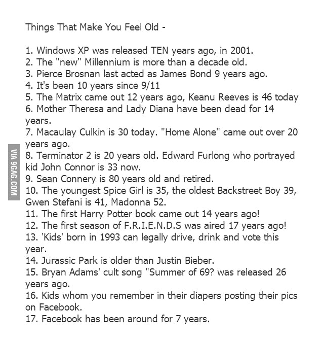 Things that make you feel old