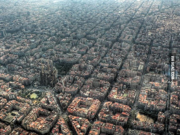 Awesome view of Barcelona from above