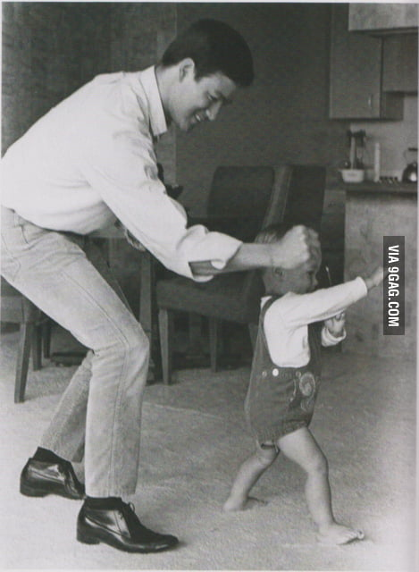 Bruce Lee and his son Brandon