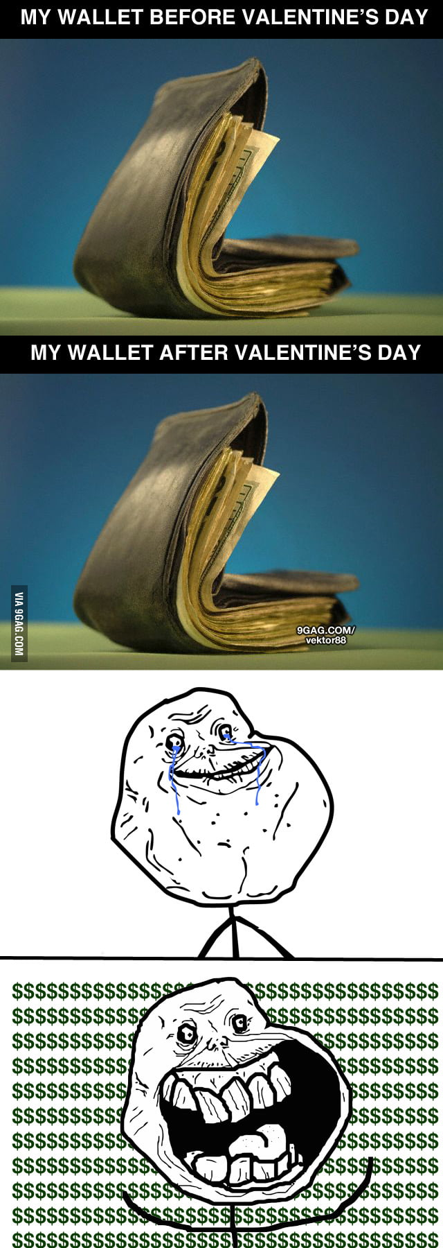 My wallet before/after Valentine's Day
