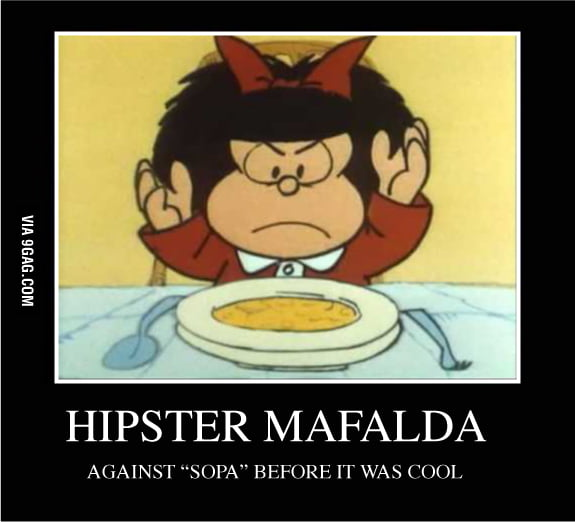 Hipster Mafalda is against SOPA law